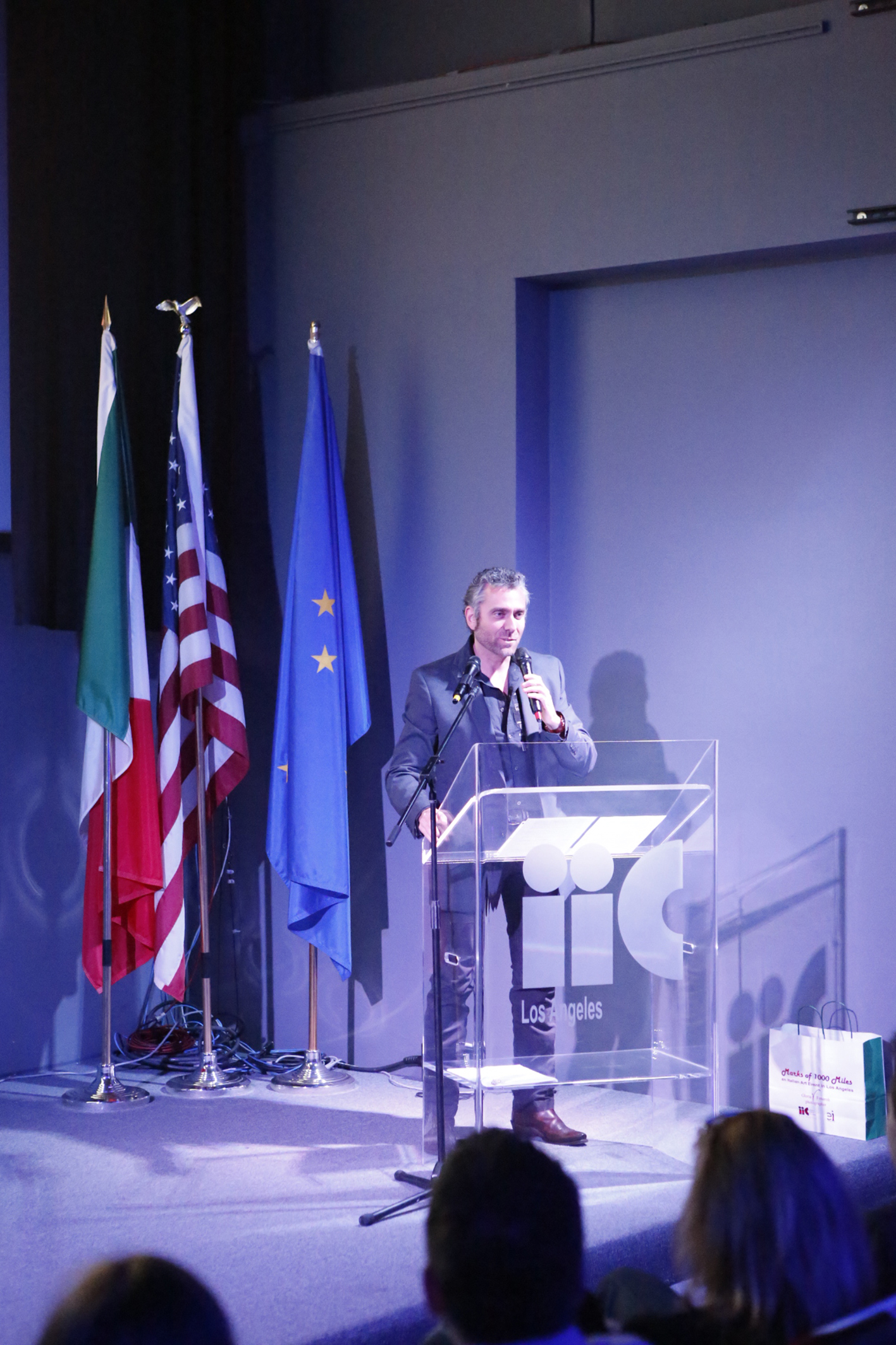 Max Leonida, during his speech at the Italian Cultural Institute of L.A.