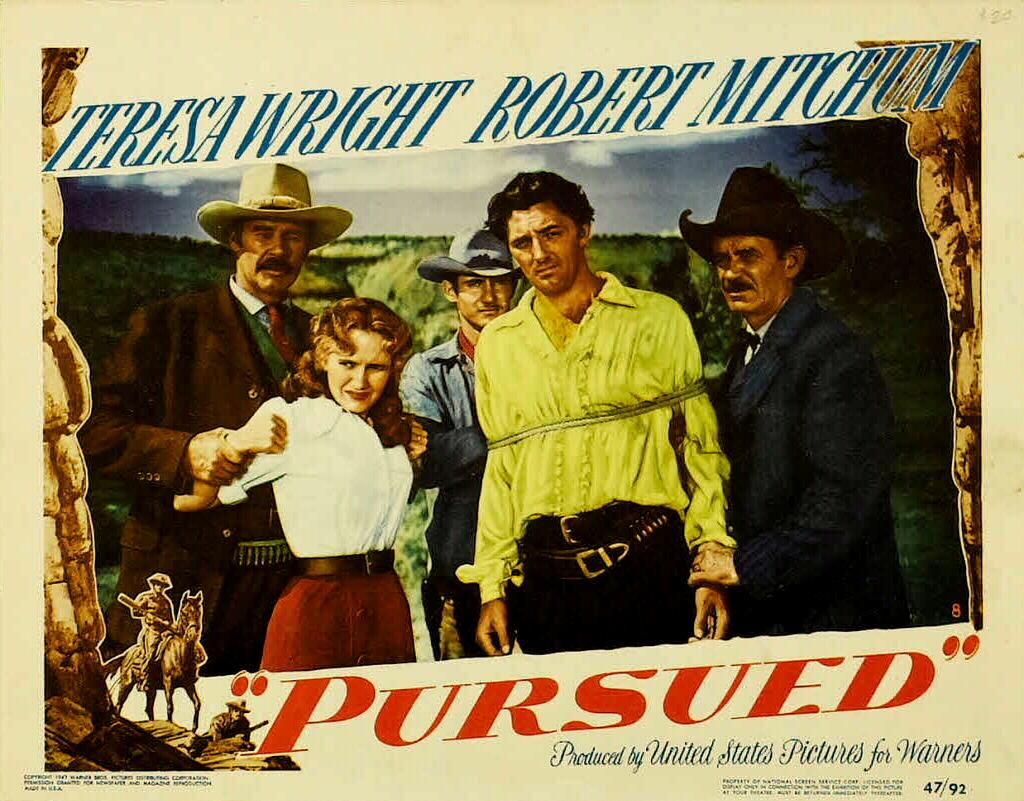 Robert Mitchum, Lane Chandler, Norman Jolley, Jack Montgomery, and Teresa Wright in Pursued (1947)