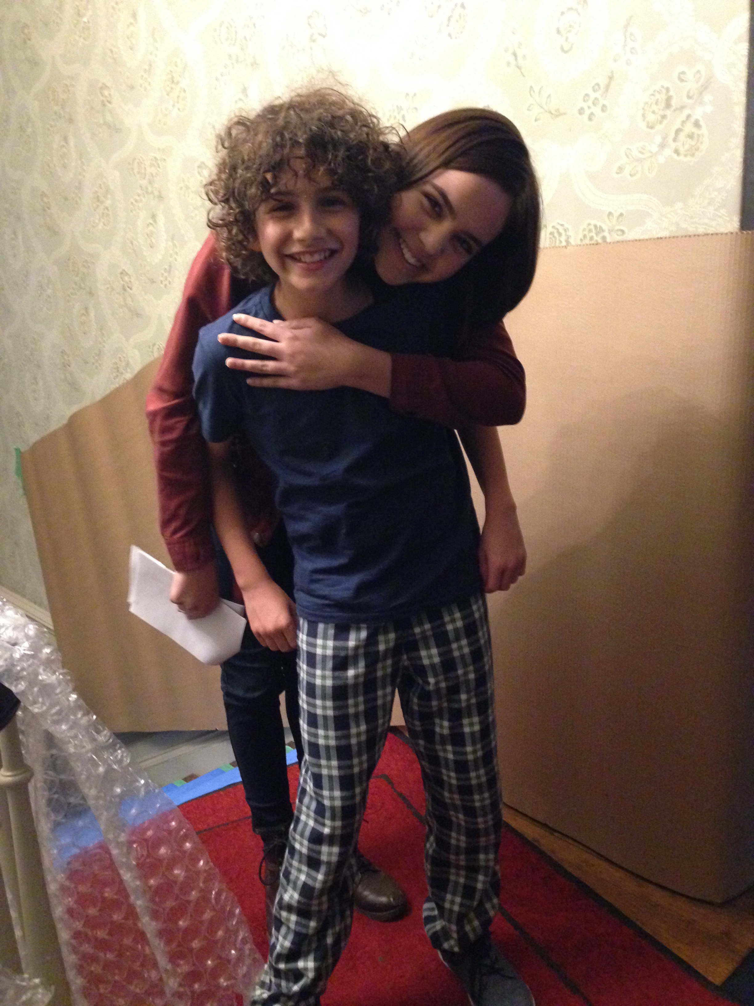 Jonah with Bailee Madison on the set of The Night Before Halloween