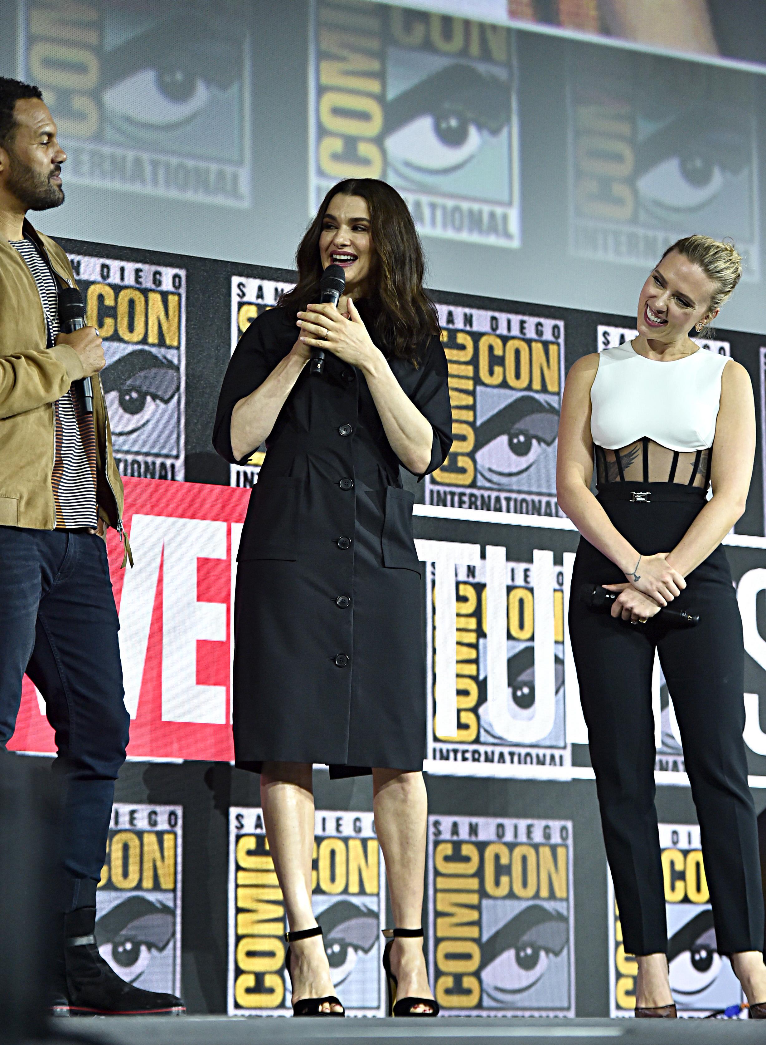 Rachel Weisz, Scarlett Johansson, and O-T Fagbenle at an event for Black Widow (2021)
