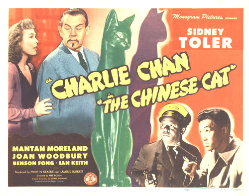 Benson Fong, Mantan Moreland, Sidney Toler, and Joan Woodbury in Charlie Chan in The Chinese Cat (1944)