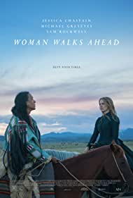 Michael Greyeyes and Jessica Chastain in Woman Walks Ahead (2017)