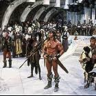 Arnold Schwarzenegger, Grace Jones, Mako, and Tracey Walter in Conan the Destroyer (1984)