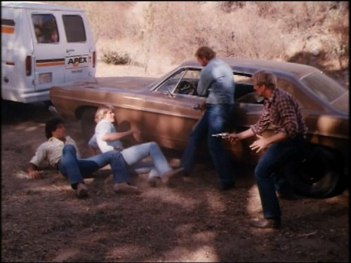 Byron Cherry, Robert Gray, Christopher Mayer, and George McDaniel in The Dukes of Hazzard (1979)