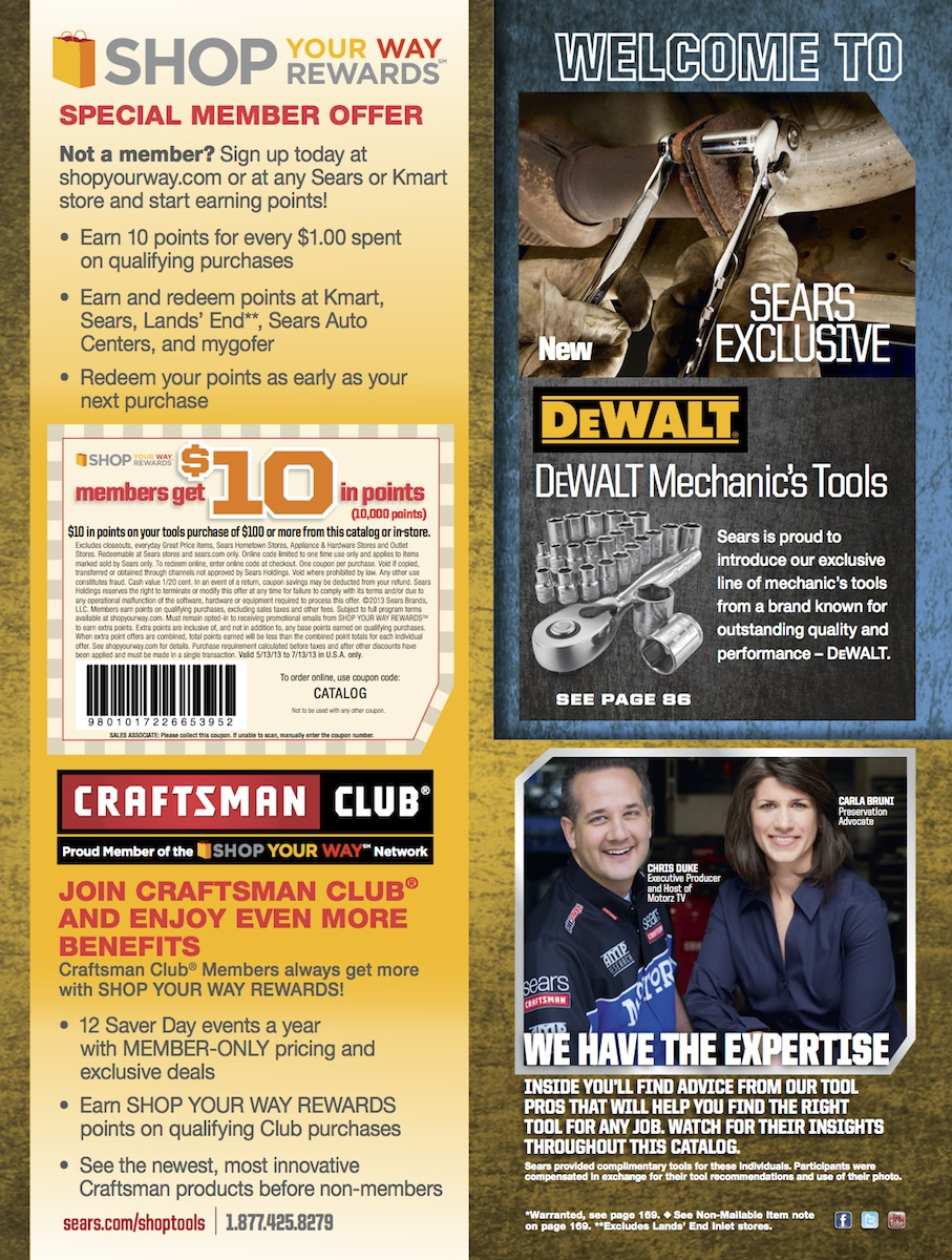Chris Duke, featured throughout the pages of the 2013 Sears Tools catalog