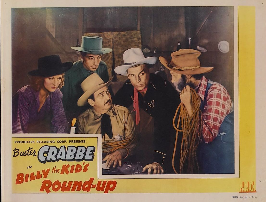 Joan Barclay, Buster Crabbe, Charles King, Al St. John, and Carleton Young in Billy the Kid's Round-Up (1941)