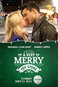Melissa Joan Hart and Mario Lopez in A Very Merry Toy Store (2017)