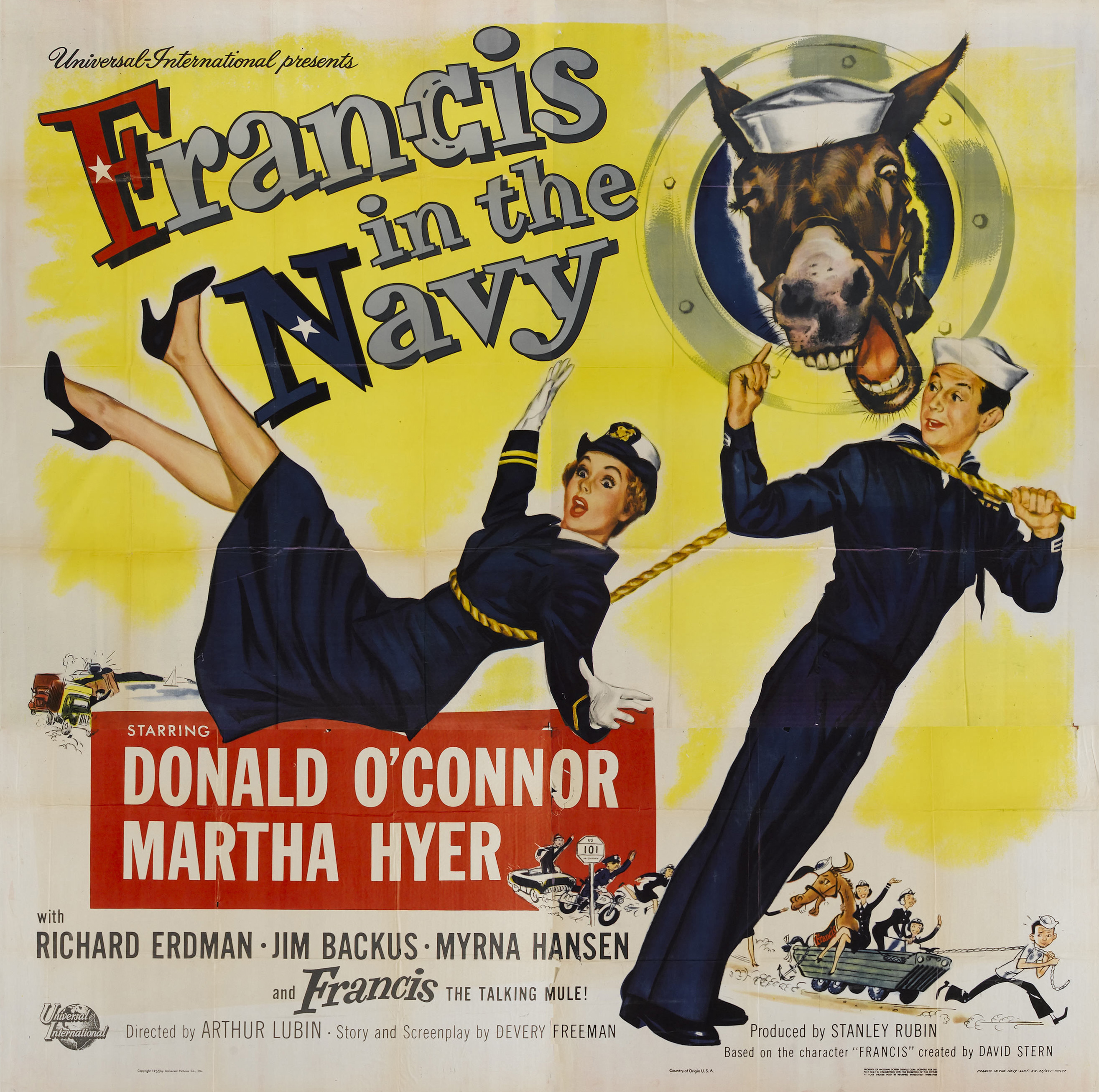 Martha Hyer, Donald O'Connor, and Molly in Francis in the Navy (1955)