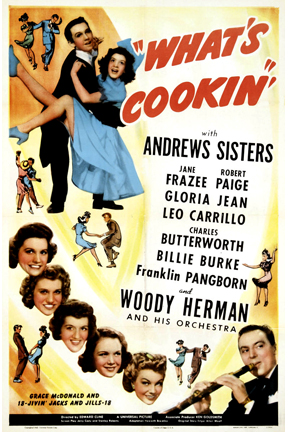 Jane Frazee, Robert Paige, and The Andrews Sisters in What's Cookin' (1942)