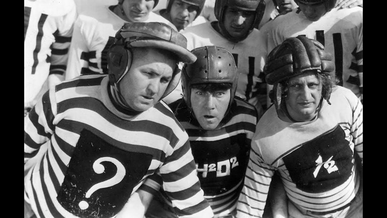 Moe Howard, Larry Fine, and Curly Howard in Three Little Pigskins (1934)