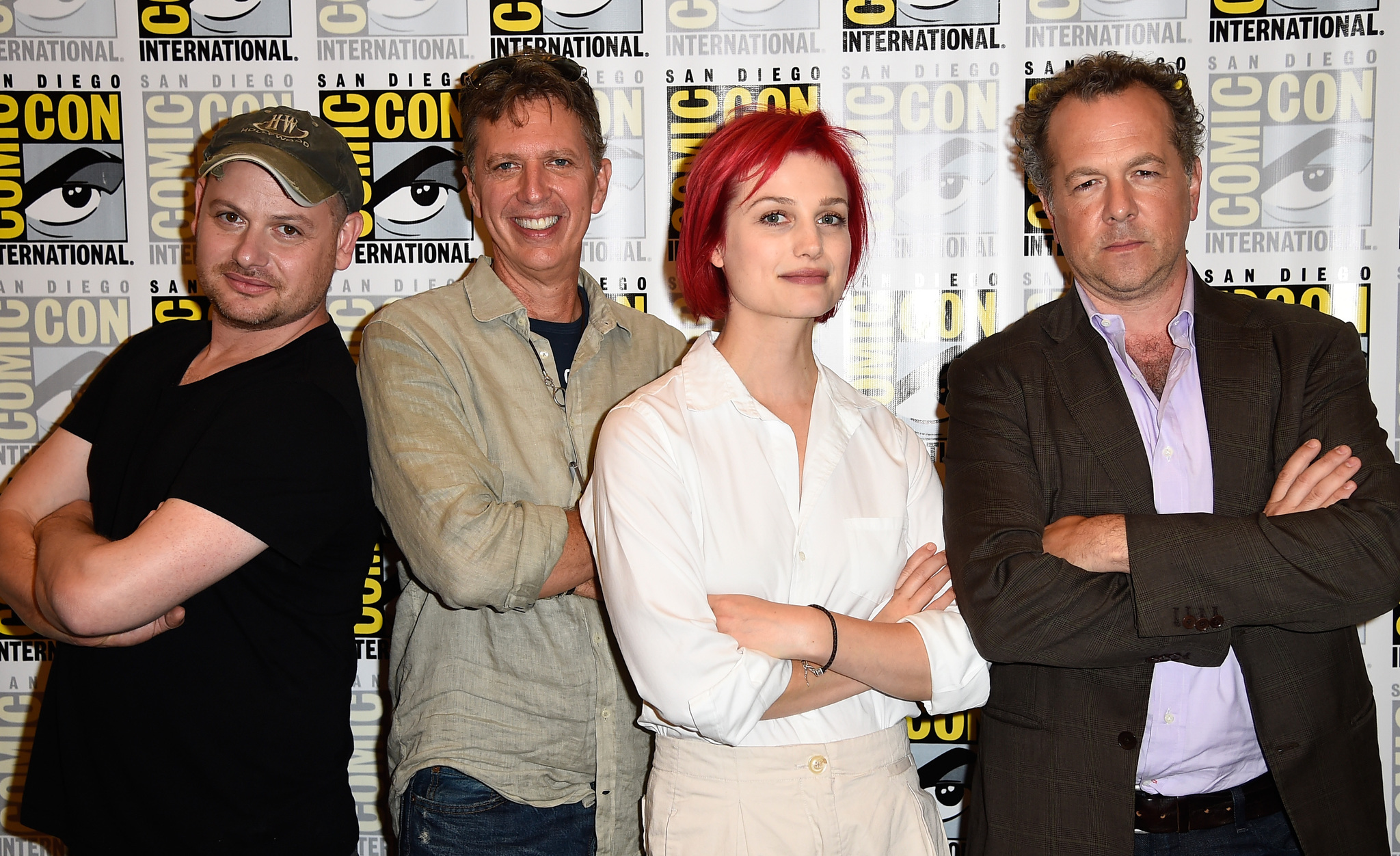 David Costabile, Tim Kring, Alison Sudol, and Gideon Raff at an event for Dig (2015)