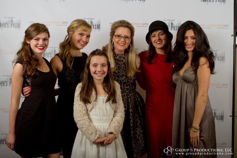 Veronica Powers at Haven's Point Premiere Dec. 10, 2011, with Morgan Obenreder, Ashlee Fuss, Anna Elizabeth James, Kick Kennedy & Ayden Mayeri
