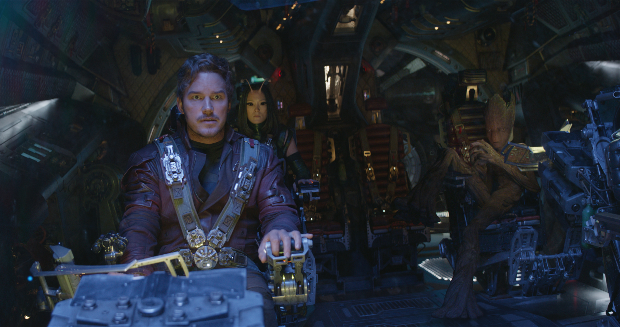 Vin Diesel, Chris Pratt, and Pom Klementieff in Avengers: Infinity War (2018)
