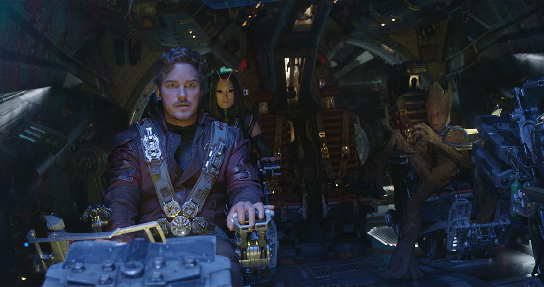 Vin Diesel, Chris Pratt, and Pom Klementieff in Avengers: Infinity War (2018)