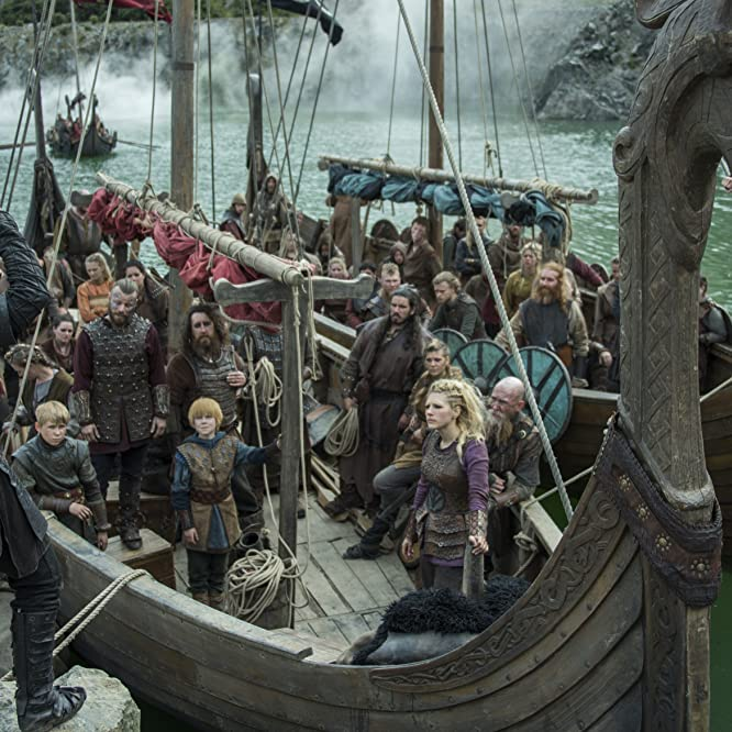 Peter Franzén, Katheryn Winnick, Travis Fimmel, Dianne Doan, Edvin Endre, Georgia Hirst, Luke Shanahan, and Stephen Rockett in Vikings (2013)