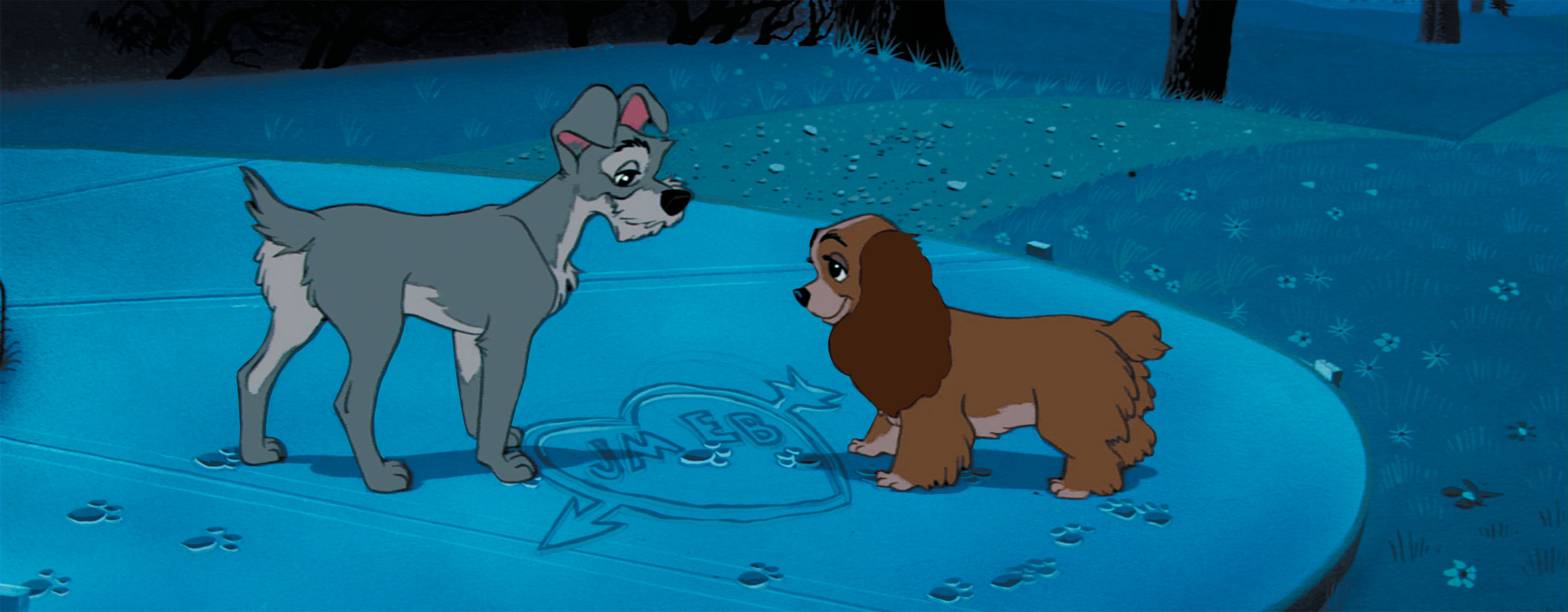 Barbara Luddy and Larry Roberts in Lady and the Tramp (1955)