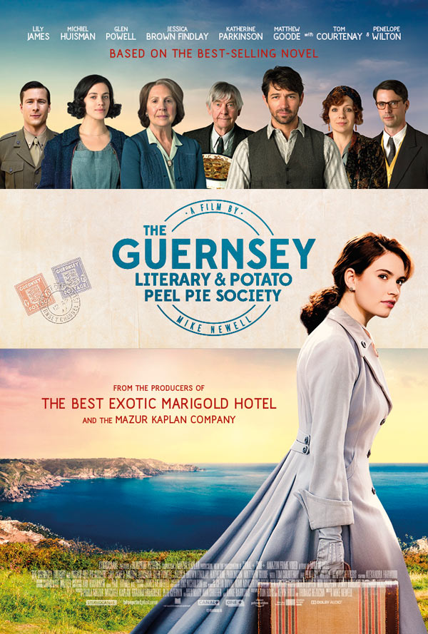 Tom Courtenay, Matthew Goode, Michiel Huisman, Penelope Wilton, Glen Powell, Katherine Parkinson, Jessica Brown Findlay, and Lily James in The Guernsey Literary and Potato Peel Pie Society (2018)