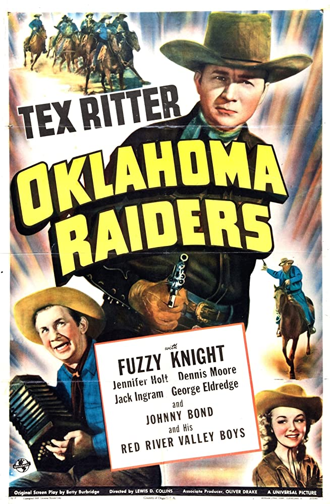 Jennifer Holt, Fuzzy Knight, and Tex Ritter in Oklahoma Raiders (1944)