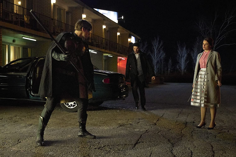 Melody Johnson, Zach Smadu, and Brenton Thwaites in Titans (2018)