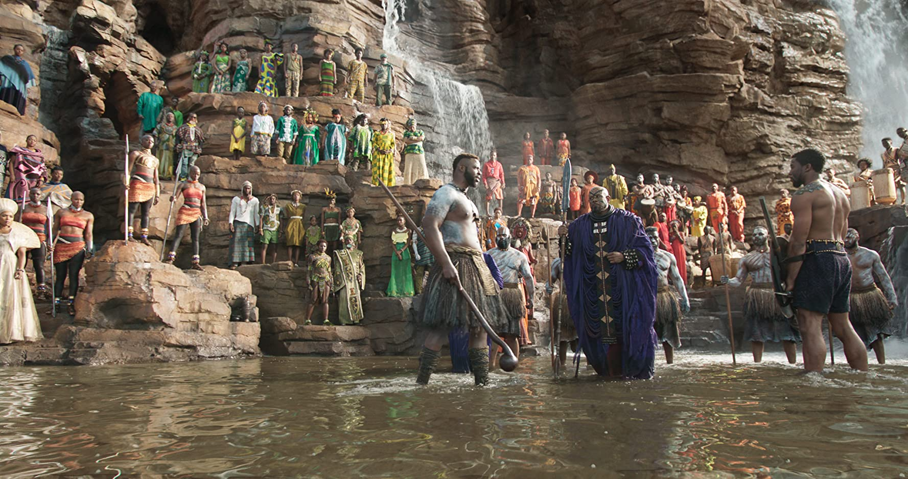 Angela Bassett, Forest Whitaker, Florence Kasumba, Chadwick Boseman, Danai Gurira, and Winston Duke in Black Panther (2018)