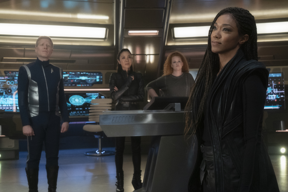 Michelle Yeoh, Anthony Rapp, Sonequa Martin-Green, and Mary Wiseman in Star Trek: Discovery (2017)