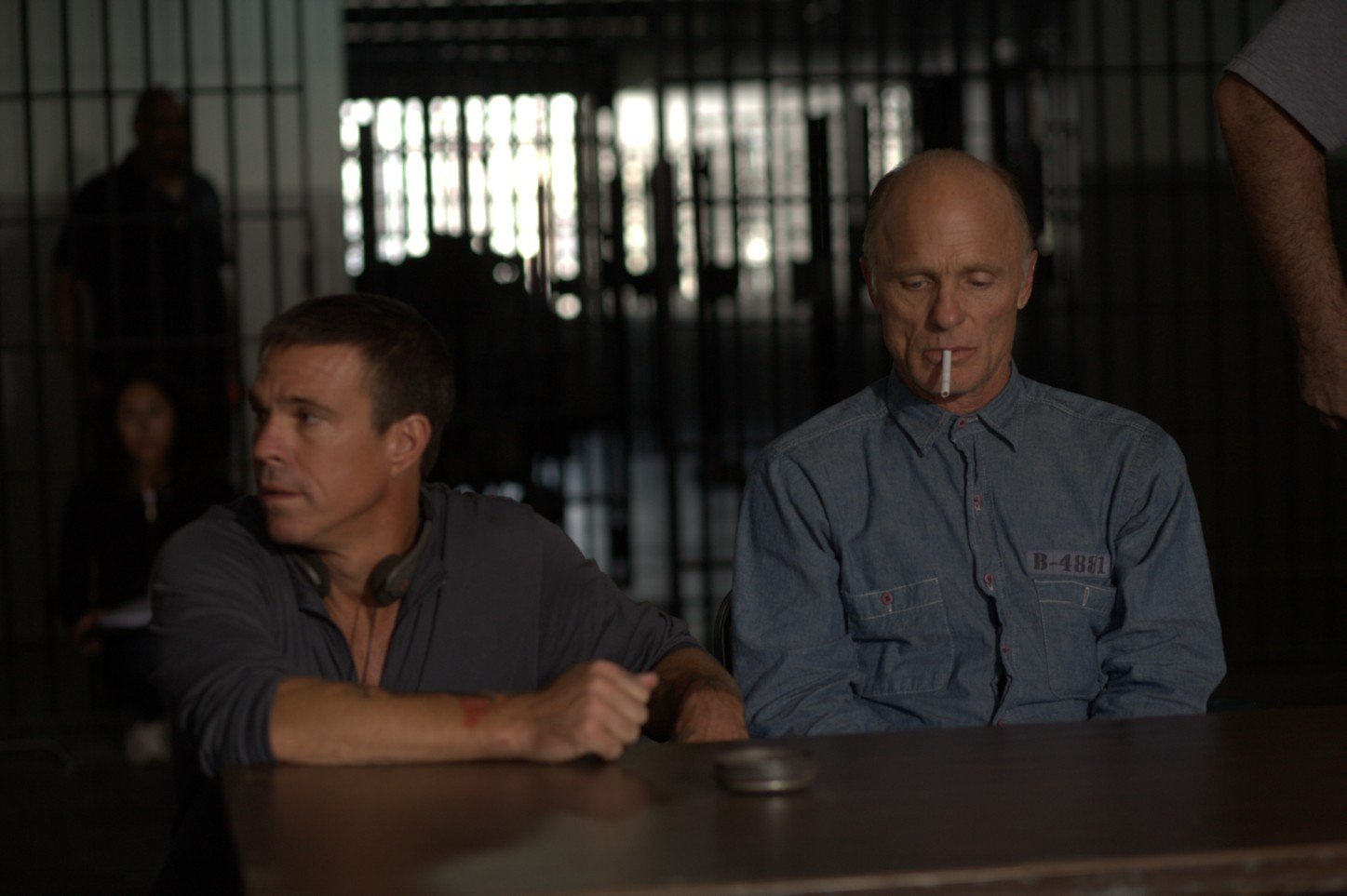 Ash Adams and Ed Harris on the set of Ash's film Once fallen