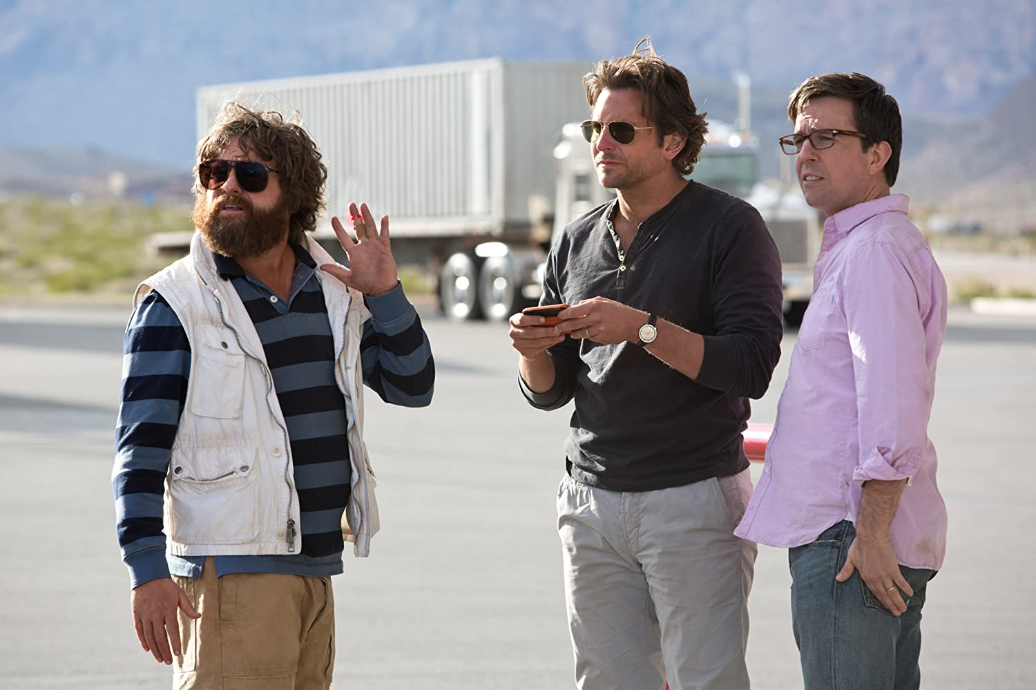 Bradley Cooper, Zach Galifianakis, and Ed Helms in The Hangover Part III (2013)