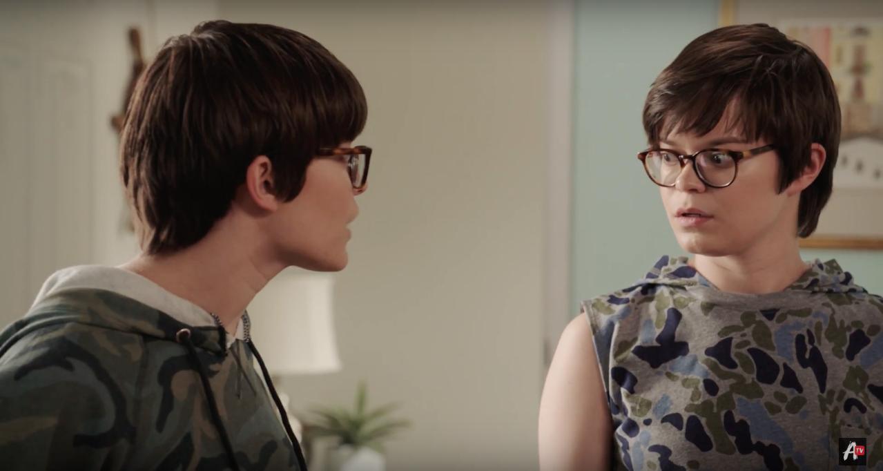 Emily Hinkler and Elizabeth Hinkler in Overthinking With Kat & June