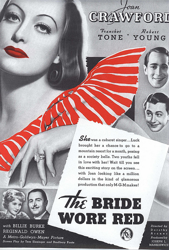Billie Burke, Joan Crawford, Robert Young, Reginald Owen, and Franchot Tone in The Bride Wore Red (1937)