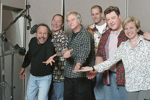 Billy Crystal, John Goodman, John Lasseter, Randy Newman, Darla K. Anderson, and Pete Docter in Monsters, Inc. (2001)
