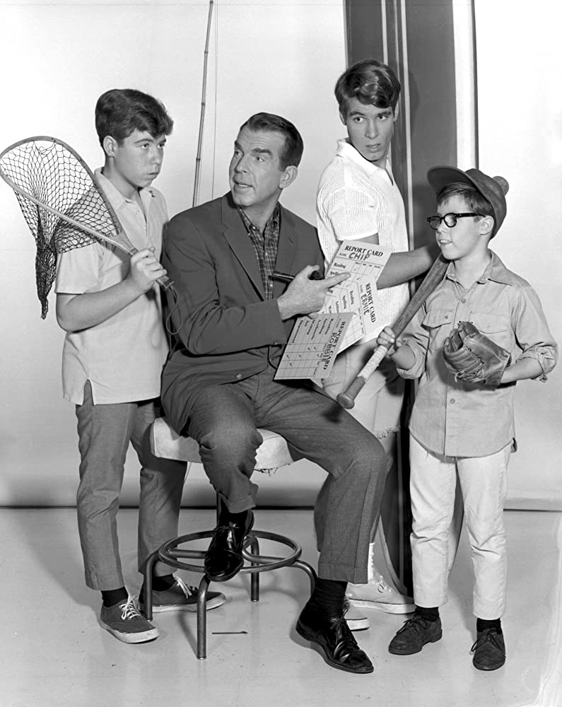 Don Grady, Barry Livingston, Stanley Livingston, and Fred MacMurray in My Three Sons (1960)