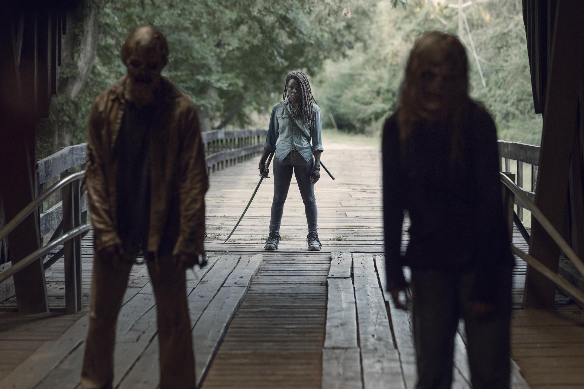 Danai Gurira, David L. Marston, and Cassady McClincy in The Walking Dead (2010)