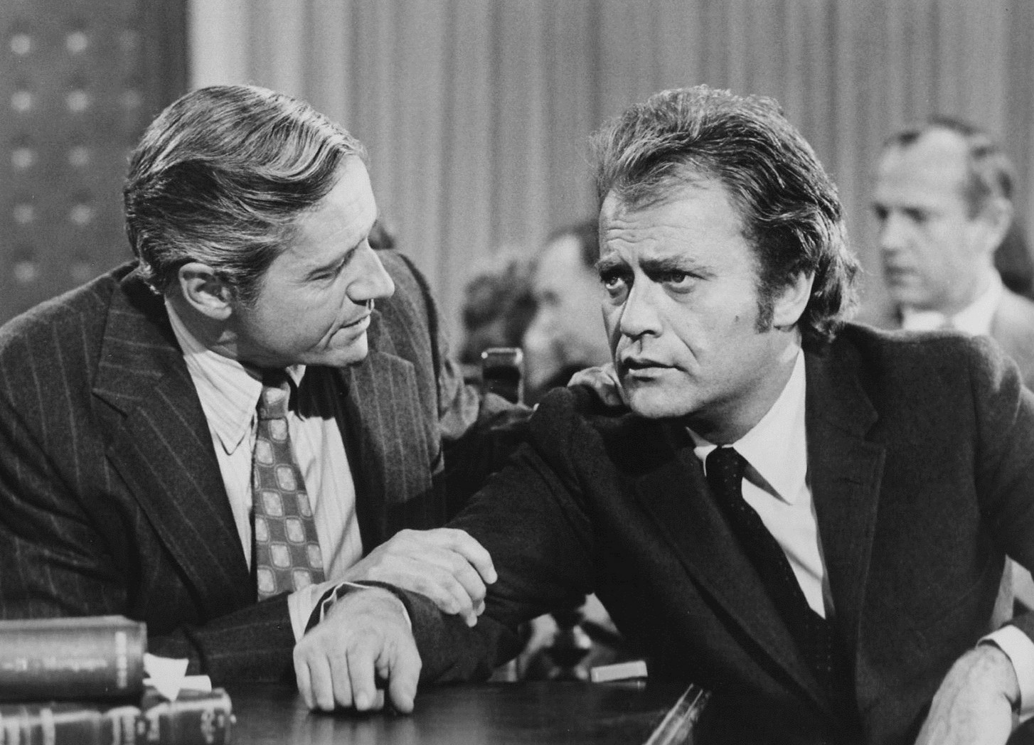 Arthur Hill and Vic Morrow in Owen Marshall, Counselor at Law (1971)