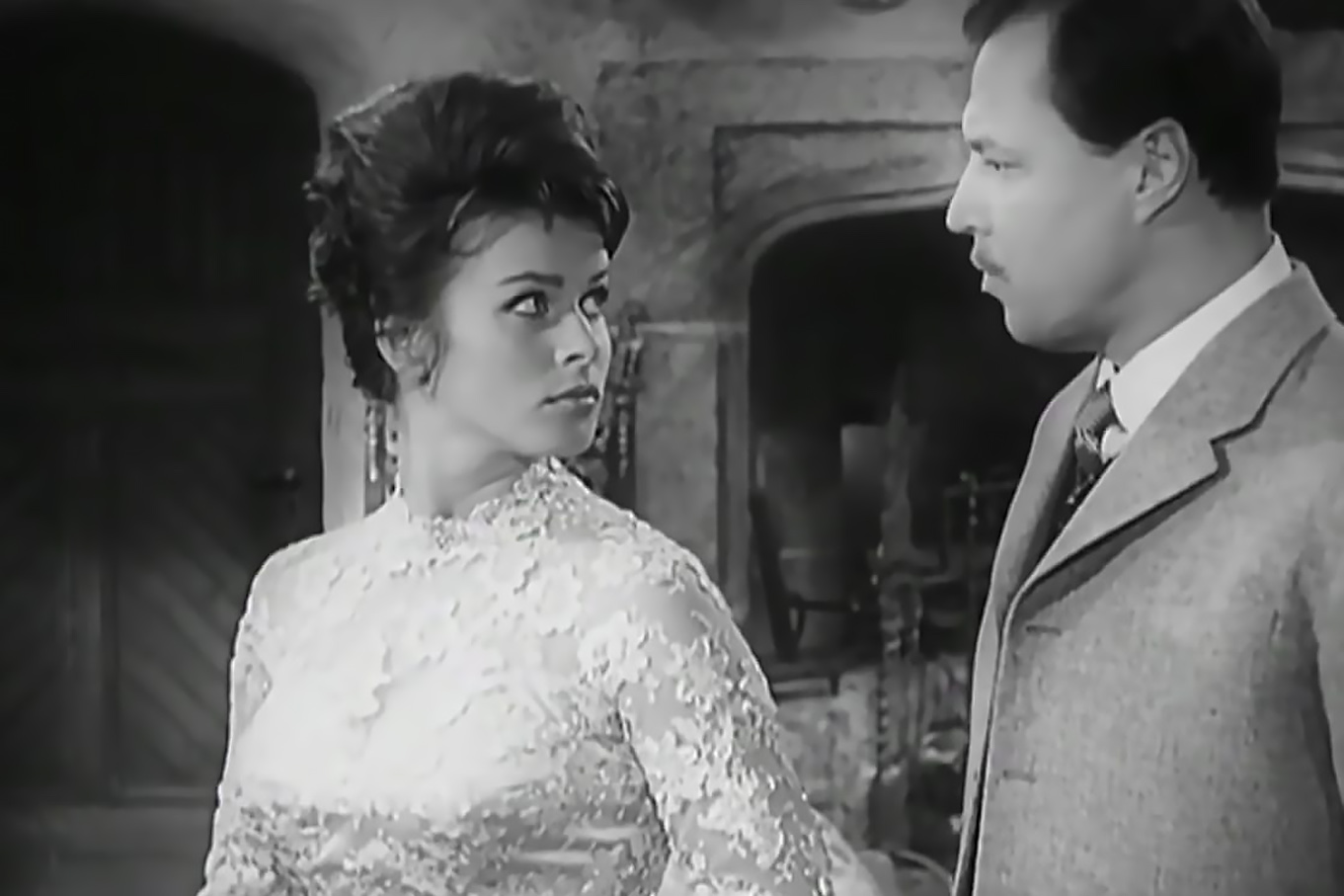 Senta Berger and Ivan Desny in Sherlock Holmes und das Halsband des Todes (1962)