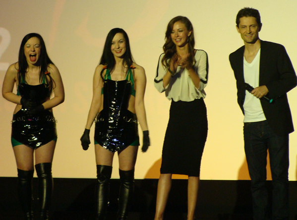 Sylvia Soska, Jen Soska, Katharine Isabelle and John Emmet Tracy at the London Premiere for American Mary