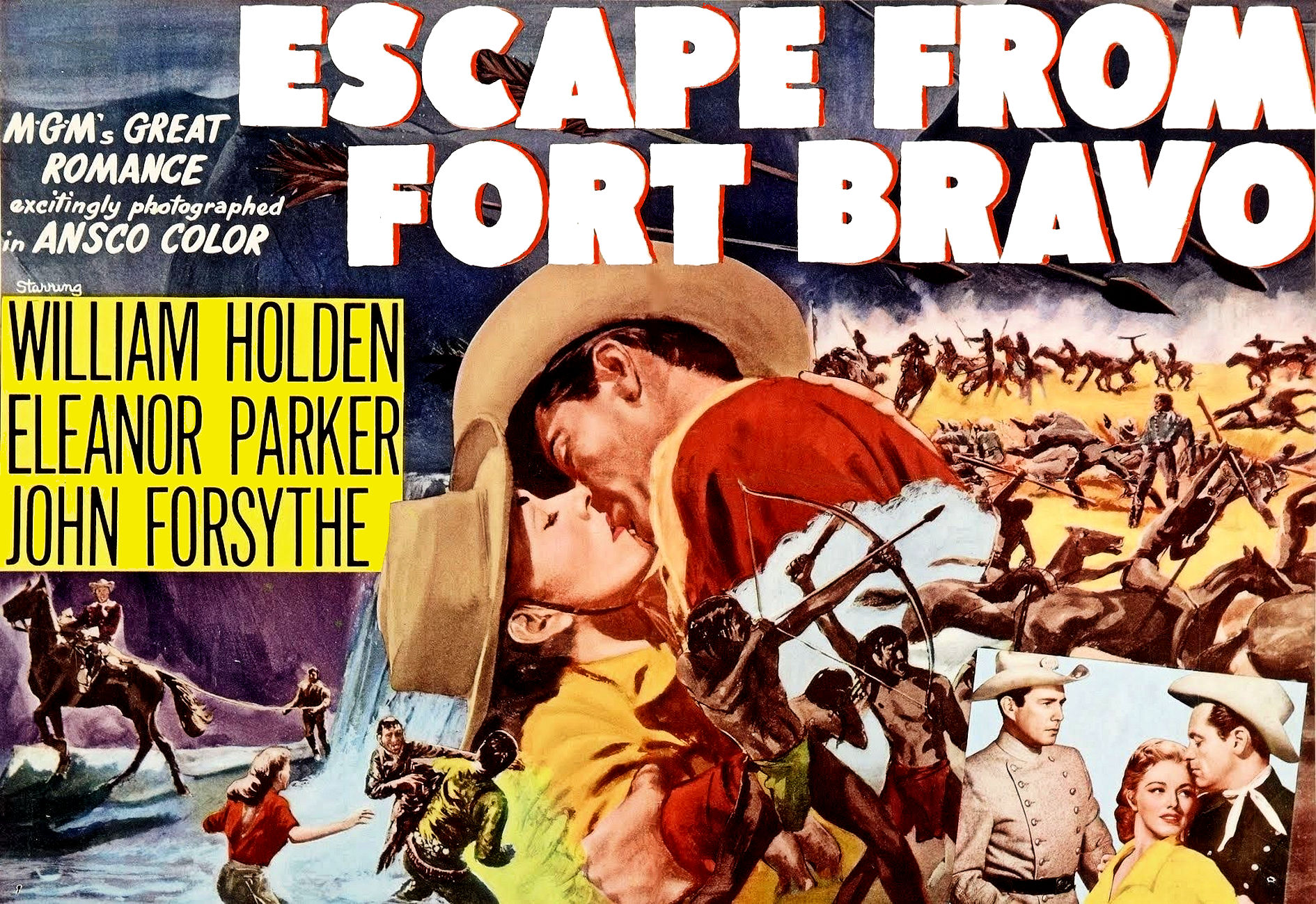 William Holden, John Forsythe, and Eleanor Parker in Escape from Fort Bravo (1953)