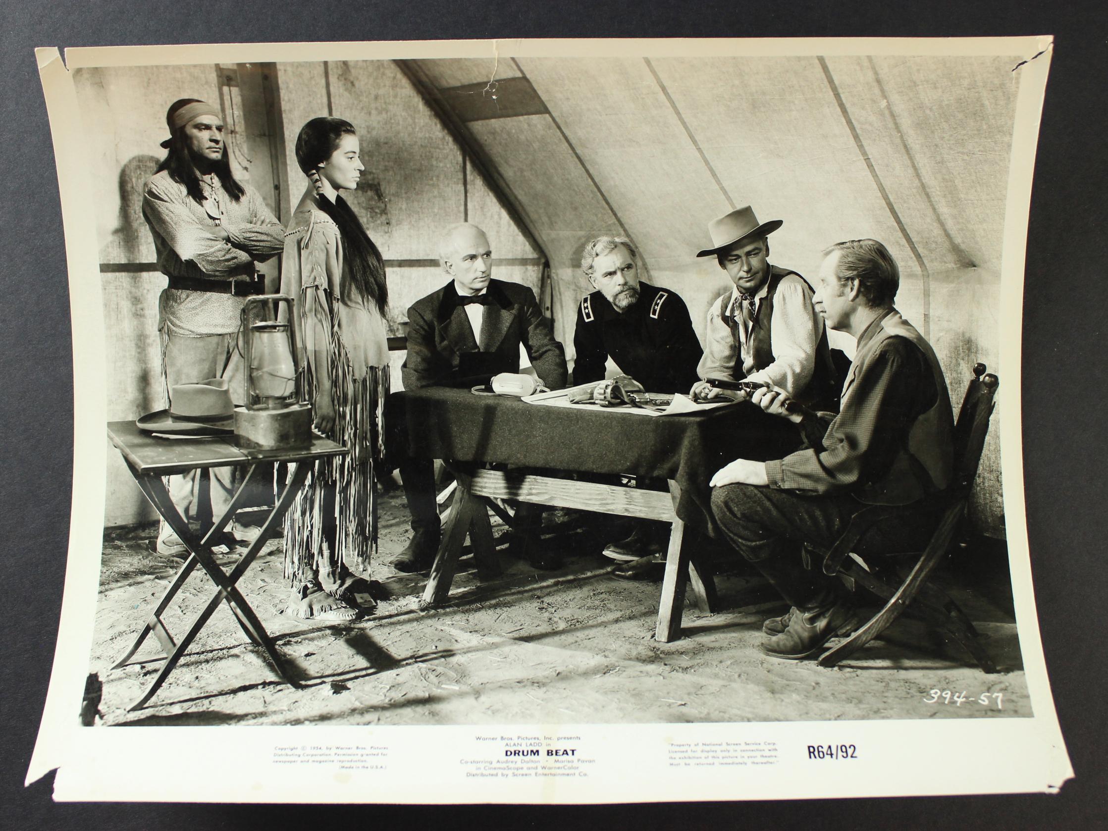 Alan Ladd, Rodolfo Acosta, Warner Anderson, Elisha Cook Jr., Audrey Dalton, and Robert Keith in Drum Beat (1954)