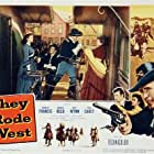 Donna Reed, Philip Carey, Robert Francis, and May Wynn in They Rode West (1954)