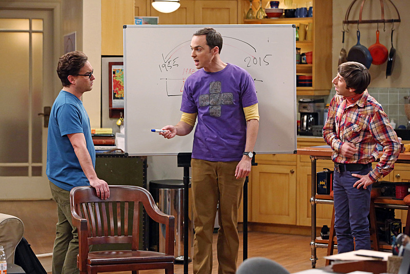 Johnny Galecki, Simon Helberg, and Jim Parsons in The Big Bang Theory (2007)