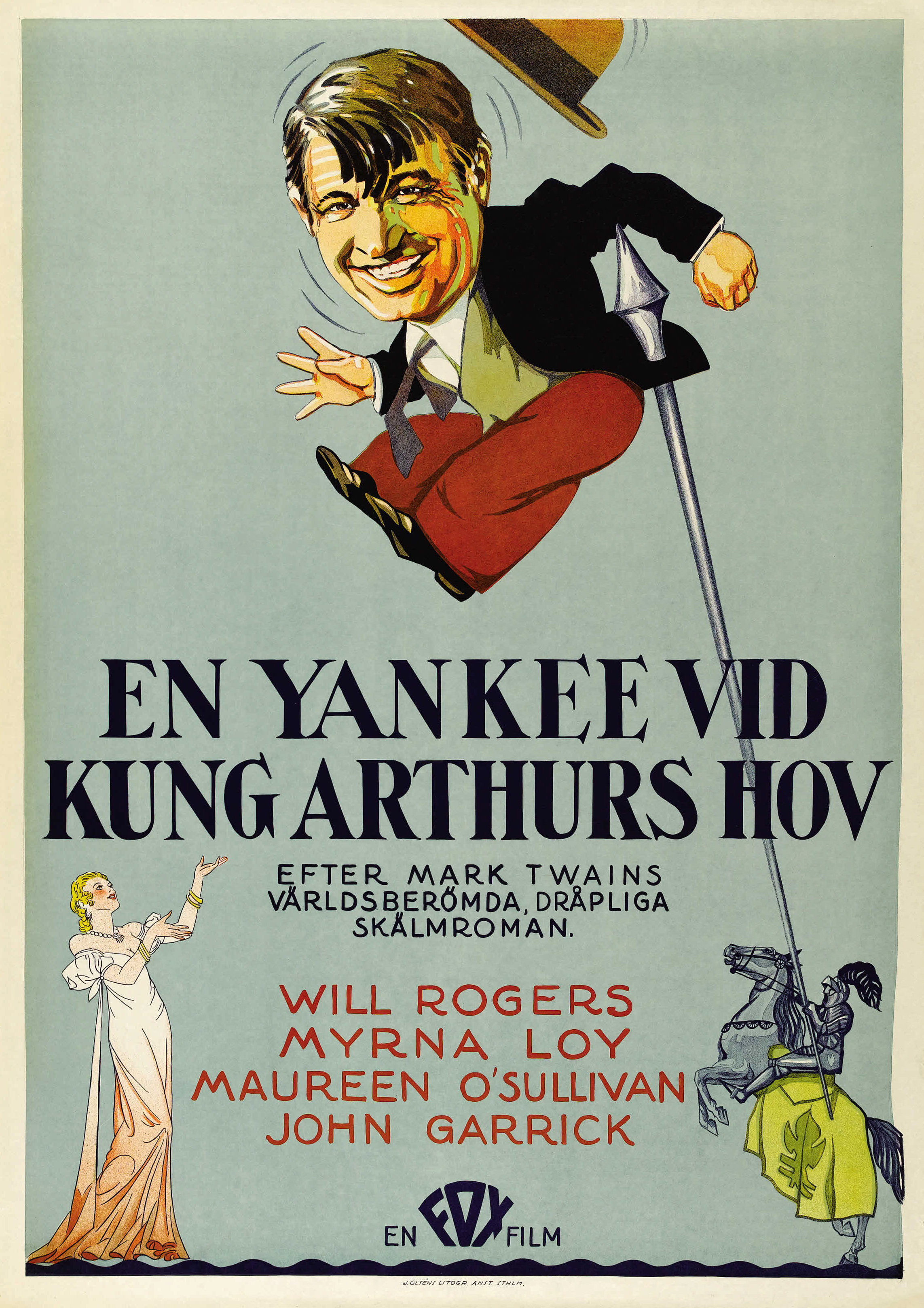 A Connecticut Yankee Will Rogers movie poster print Art