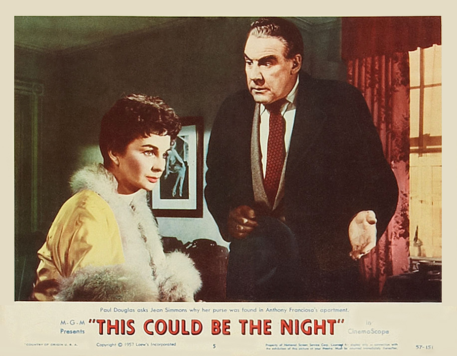Jean Simmons and Paul Douglas in This Could Be the Night (1957)