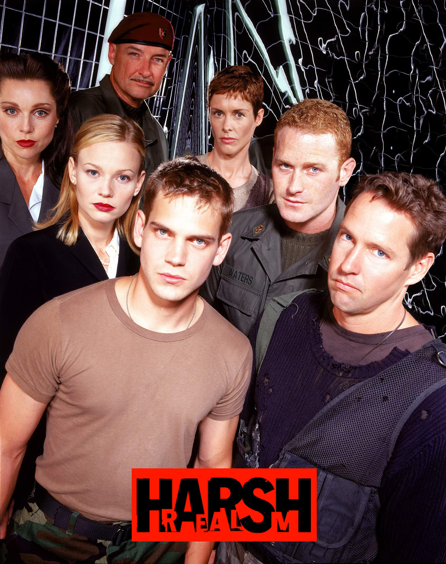 Scott Bairstow, Samantha Mathis, D.B. Sweeney, Max Martini, Rachel Hayward, Terry O'Quinn, and Sarah-Jane Redmond in Harsh Realm (1999)