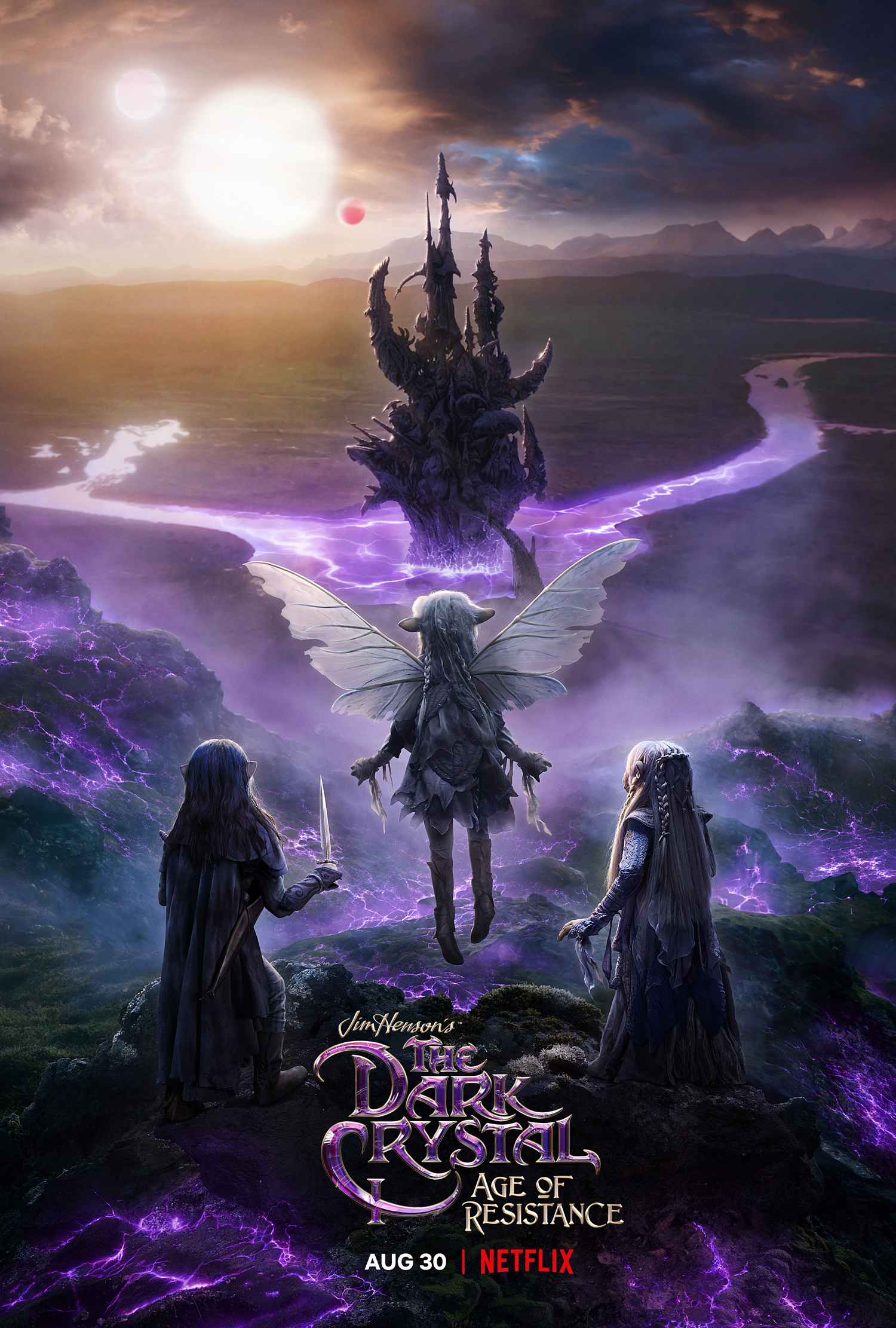 The promotional poster for Dark Crystal: Age of Resistance. The three main characters, the gelflings Deet, Rian, and Brea, standing on a rocky mountain surrounded by purple glowing filaments of energy, looking at the crystal of the castle in the background, as the three suns of Thra are setting beyond it.