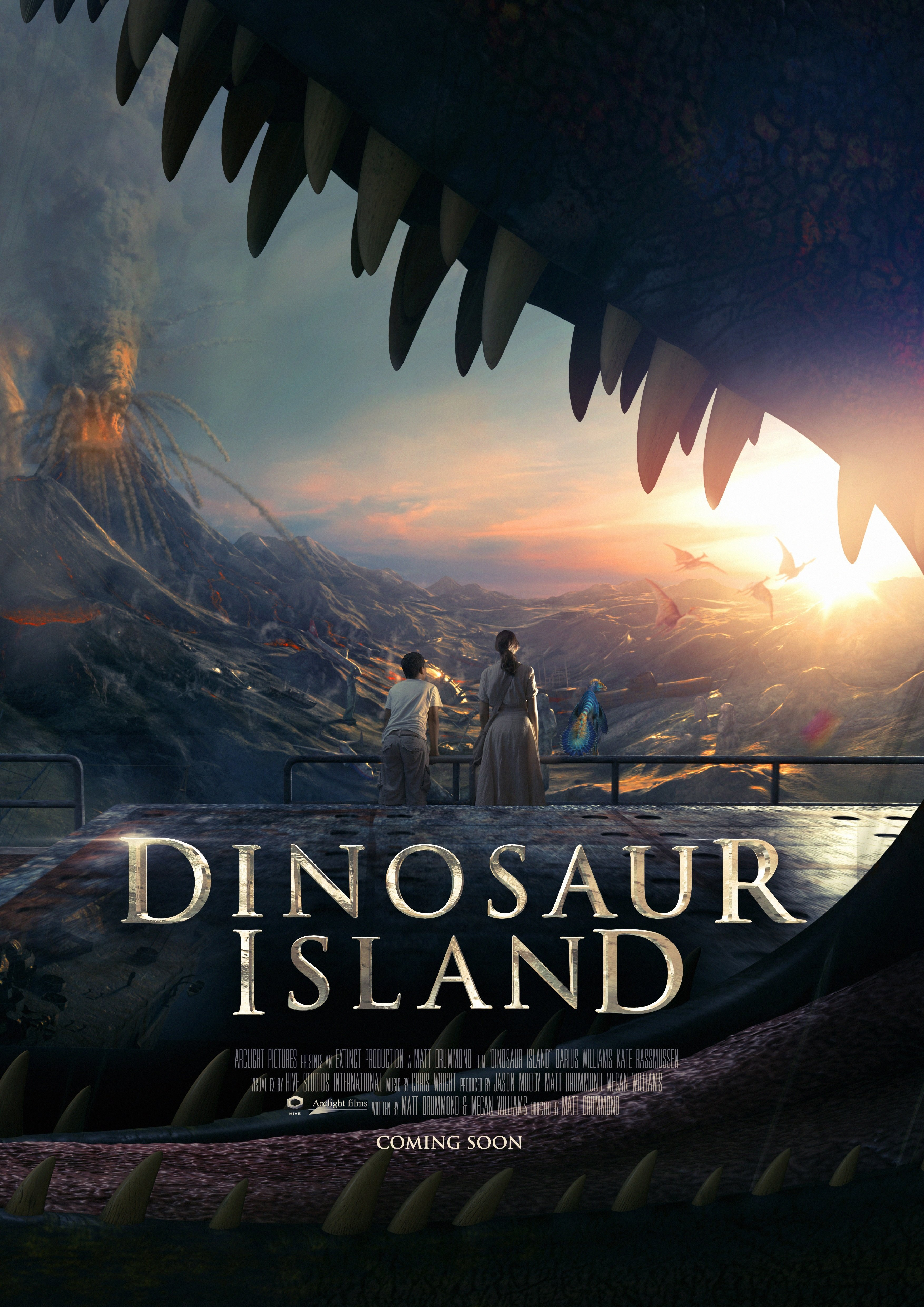 Against A Backdrop Of Mountains And Forests The Dinosaur Gosaurus Threateningly Stands Behind Three Theatrical Release Poster