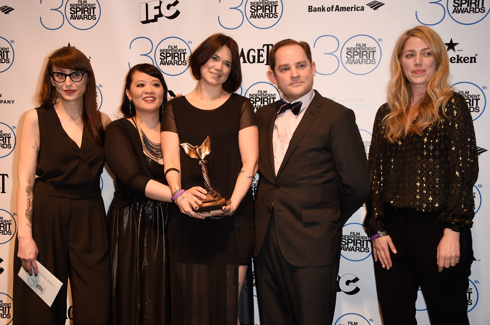Christina Jennings, Aaron Katz, Martha Stephens, Mynette Louie, and Sara Murphy at an event for 30th Annual Film Independent Spirit Awards (2015)
