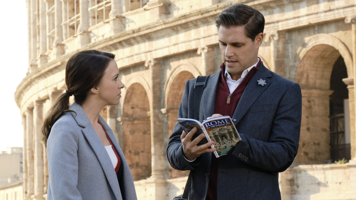 Lacey Chabert and Sam Page in Christmas in Rome (2019)
