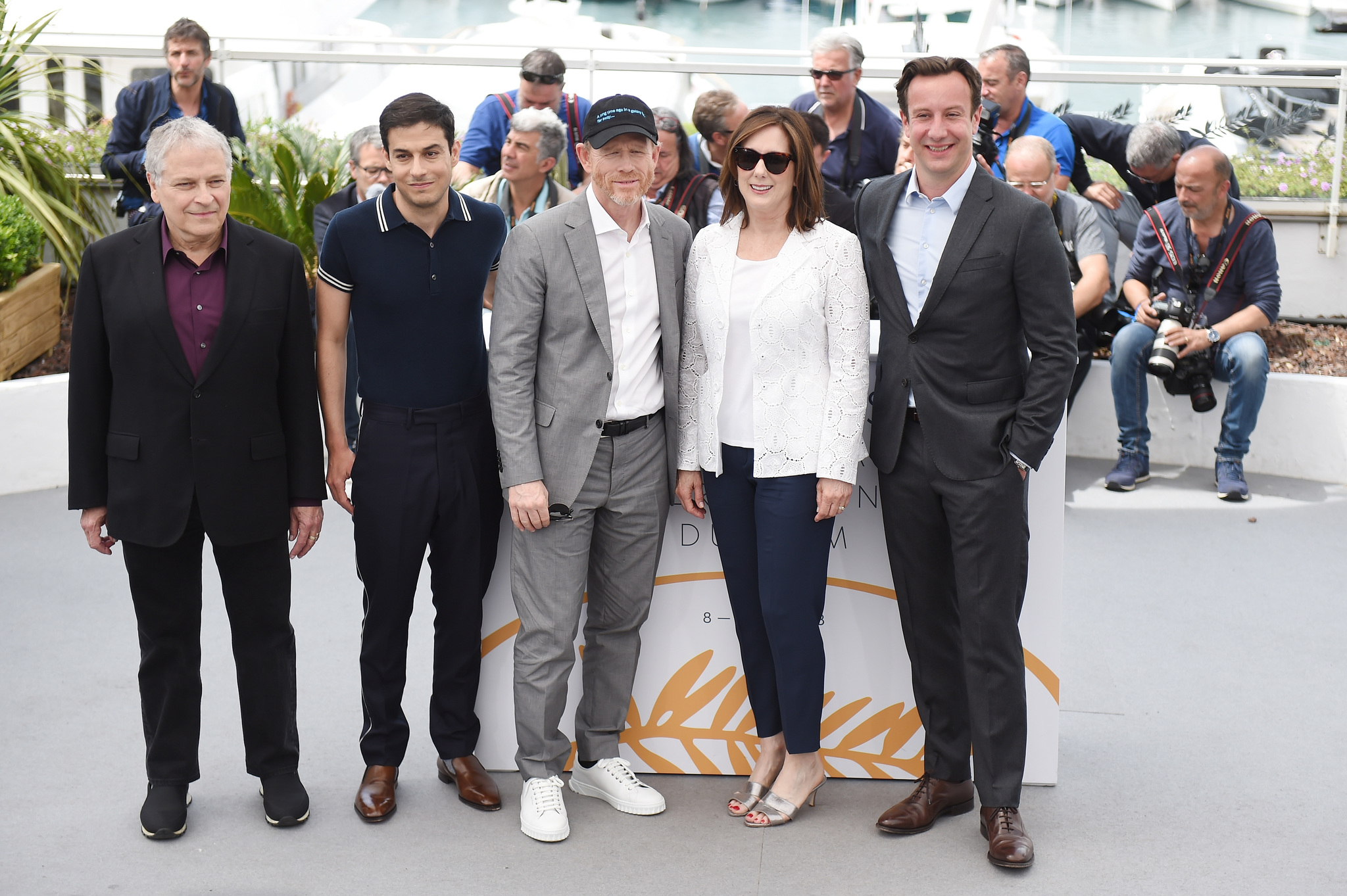 Ron Howard, Lawrence Kasdan, Simon Emanuel, Kathleen Kennedy, and Jonathan Kasdan at an event for Solo: A Star Wars Story (2018)
