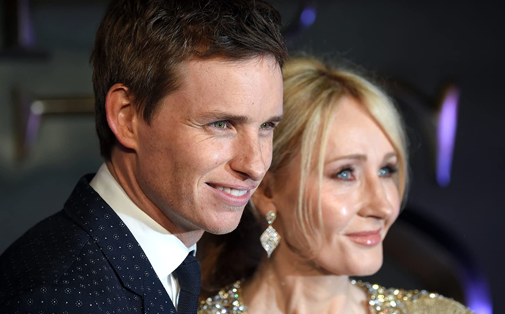 J.K. Rowling and Eddie Redmayne at an event for Fantastic Beasts and Where to Find Them (2016)