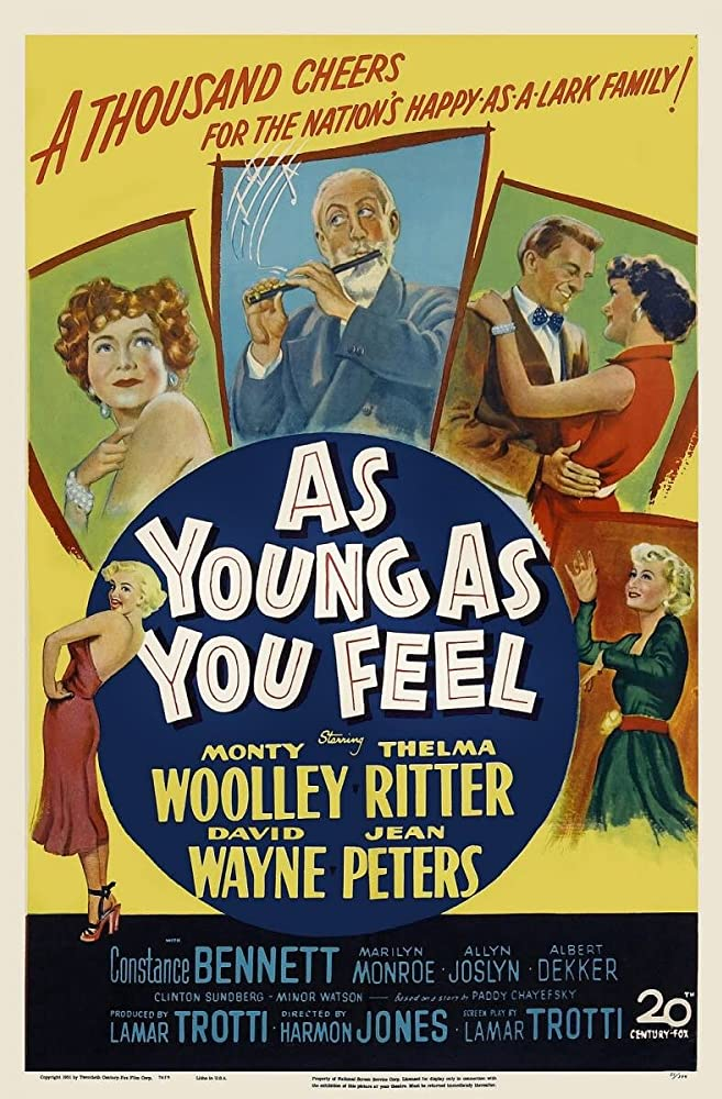 Marilyn Monroe, Constance Bennett, Jean Peters, Thelma Ritter, David Wayne, and Monty Woolley in As Young as You Feel (1951)