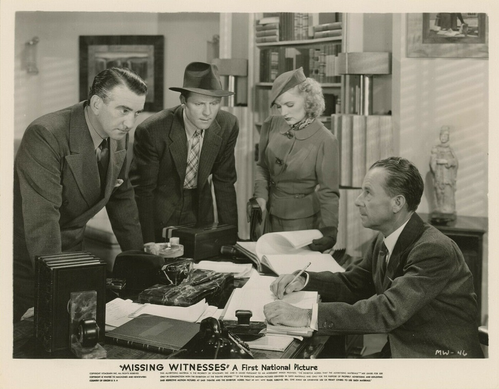 Virginia Dale, Harry Fox, John Litel, and Dick Purcell in Missing Witnesses (1937)